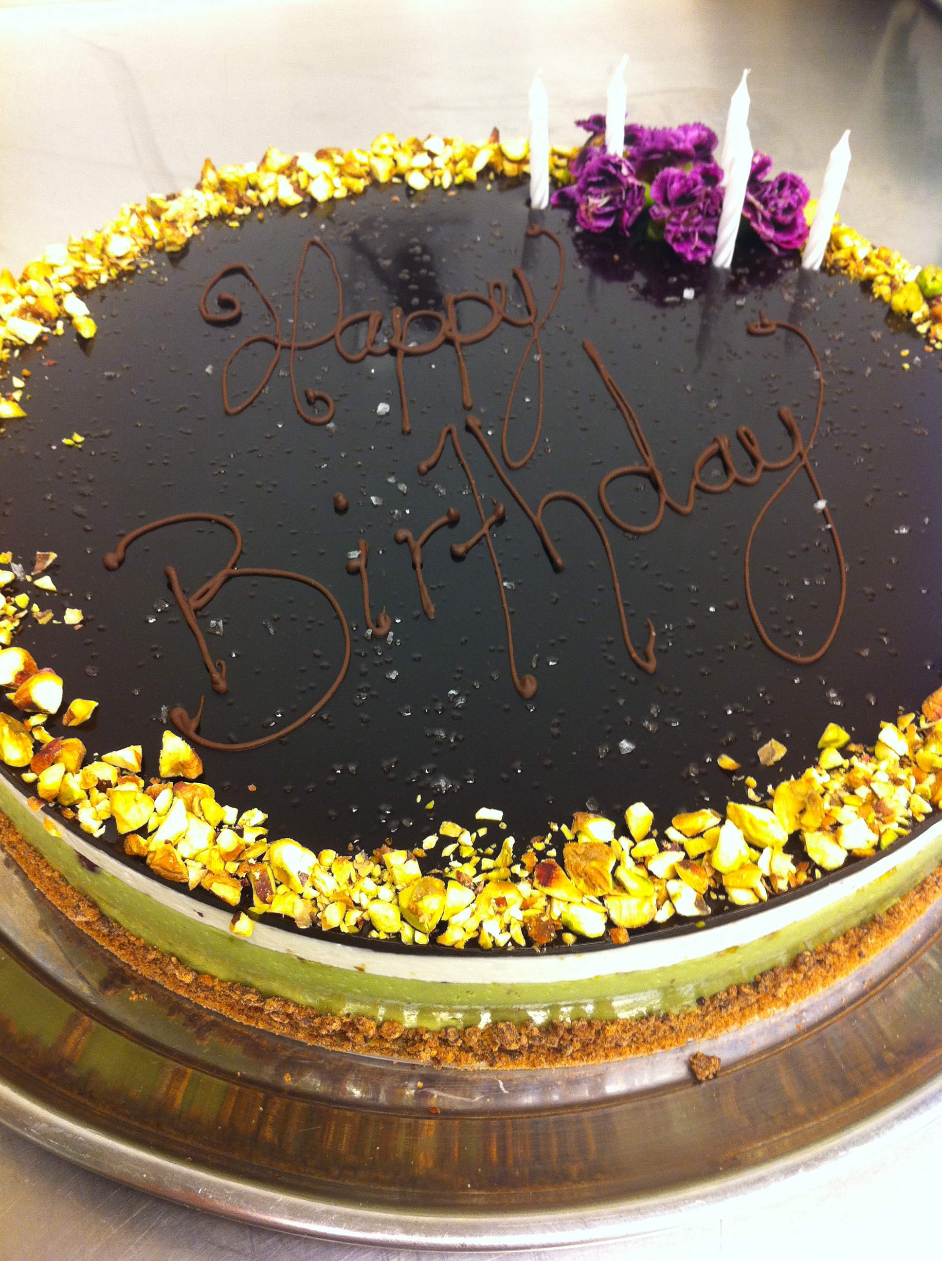 Pistachio and alba truffle birthday cake